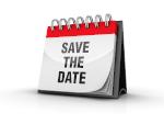 Das bIld zeigt einen Kalender mit dem Schriftzug Save the Date auf dem aktuellen Blatt.
