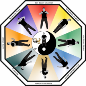 Das Bild zeigt den Großmeister Bernd Höhle bei verschiedenen Übungen aus dem Tao Qi Gong.