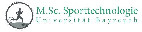 Logo für den Masterstudiengang Sporttechnologie der Universität Bayreuth
