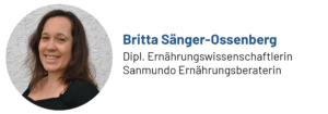 Das Bild zeigt ein Foto von Britta Sänger-Ossenberg, Sanmundo Ernährungsberaterin, Autorin des Beitrags