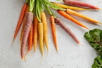 Das Foto zeigt sehr unterschiedliche Karotten als Beispiel dafür, dass Nachhaltigkeit von Lebensmitteln beim Einkaufen auch für die Vielfalt von Formen und Farben steht