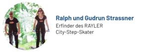 Das Foto zeigt Ralph und Gudrun Strassner, Erfinder des Rayler Zweiradstepper und Autoren des Beitrags
