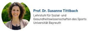 Das Foto zeigt Frau Professor Dr. Susanne Tittlbach, Inhaberin des Lehrstuhls für Sozial- und Gesundheitswissenschaften des Sports der Universität Bayreuth, Autorin des Beitrags zur Bewegung am Arbeitsplatz
