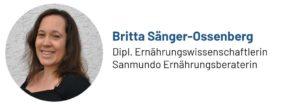 Das Bild zeigt ein Foto von Britta Sänger-Ossenberg, Ernährungsberaterin und Autorin für Sanmundo