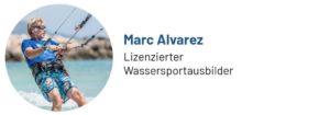 Das Foto zeigt Marc Alvarez, Wassersportausbilder und Trainer, Autor des Beitrags zum Kitesurfen auf Mallorca