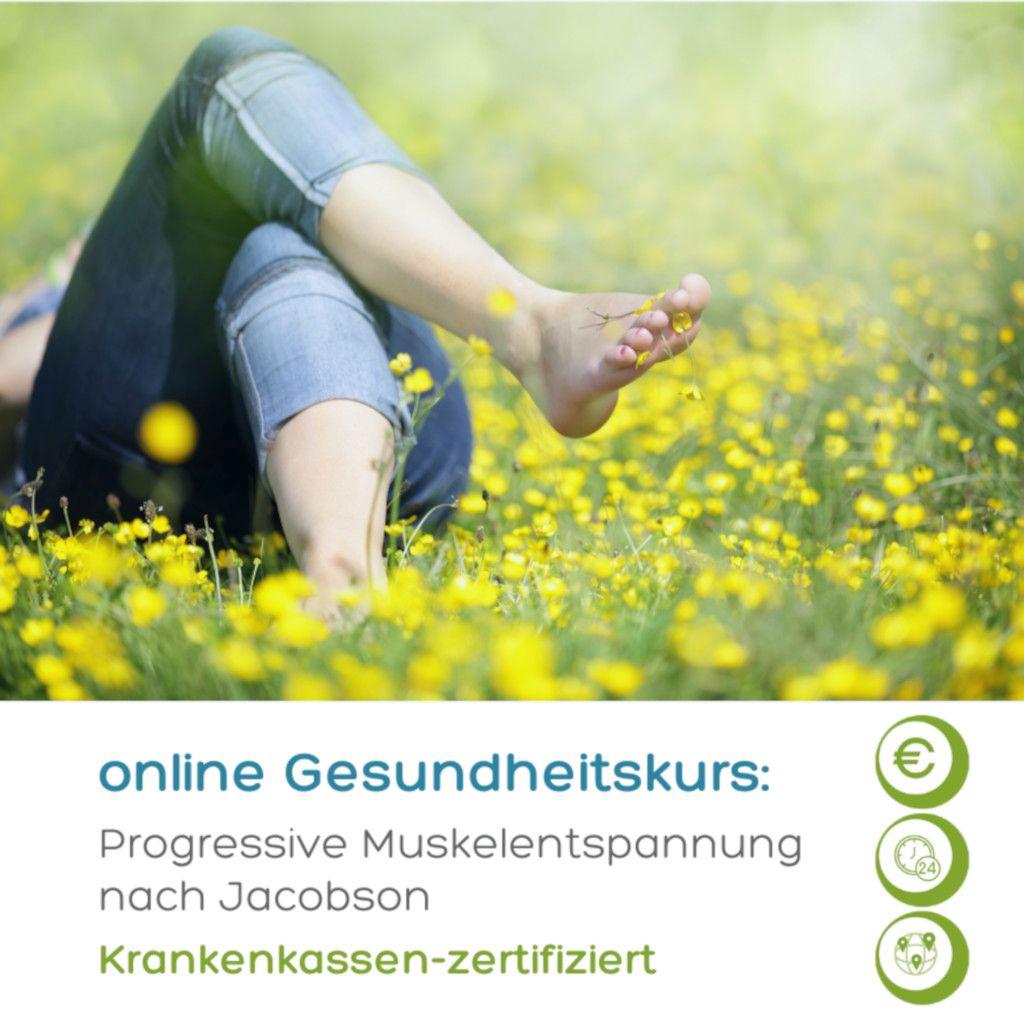 Das Foto zeigt einen Menschen in einer Blumenwiese als Sinnbild wie die Progressive Muskelentspannung im Online-Gesundheitskurs gegen emotionales Essen helfen kann